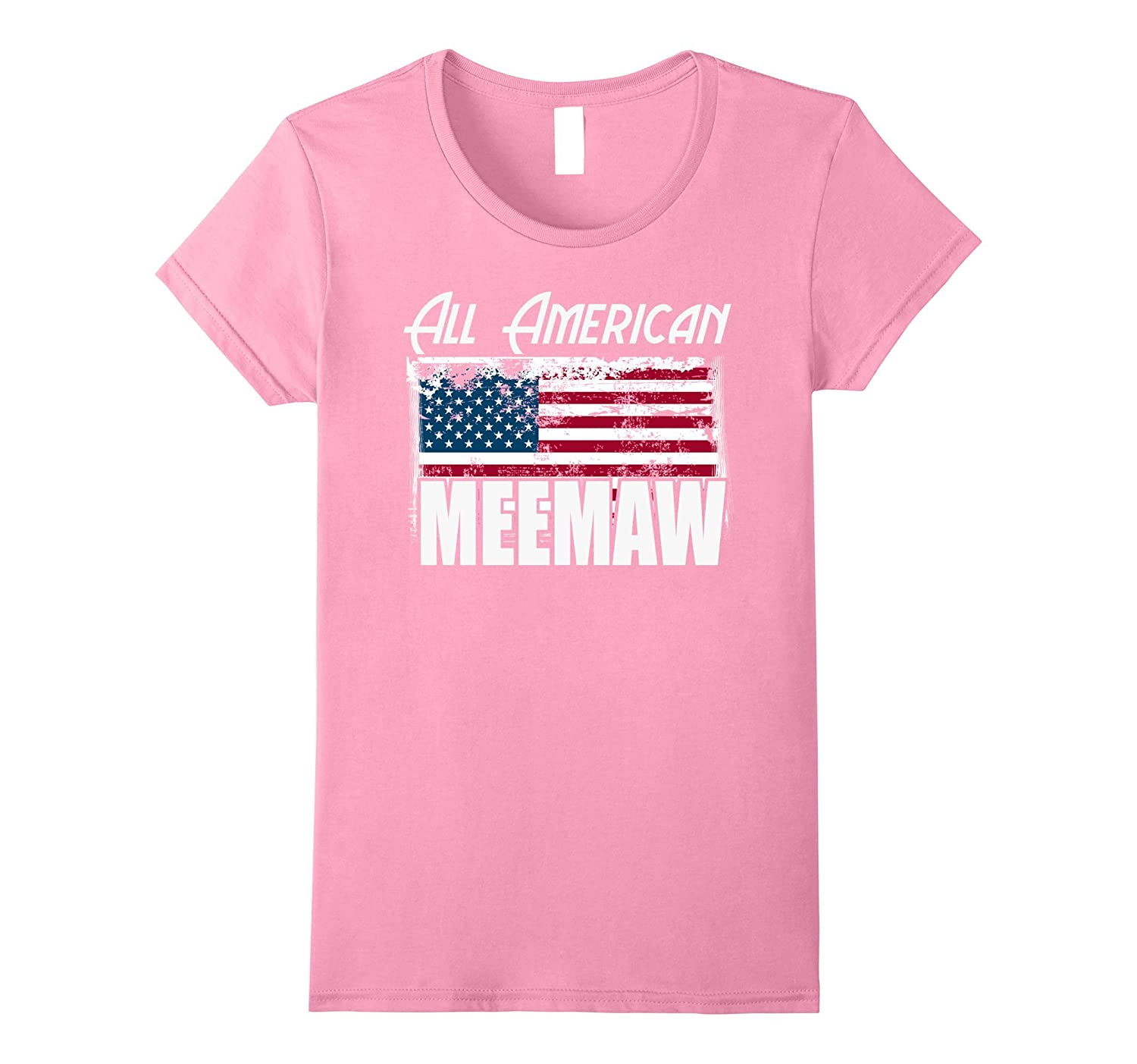 """All American MeeMaw"" Flag Mother's Day 4th of July T Shirt"