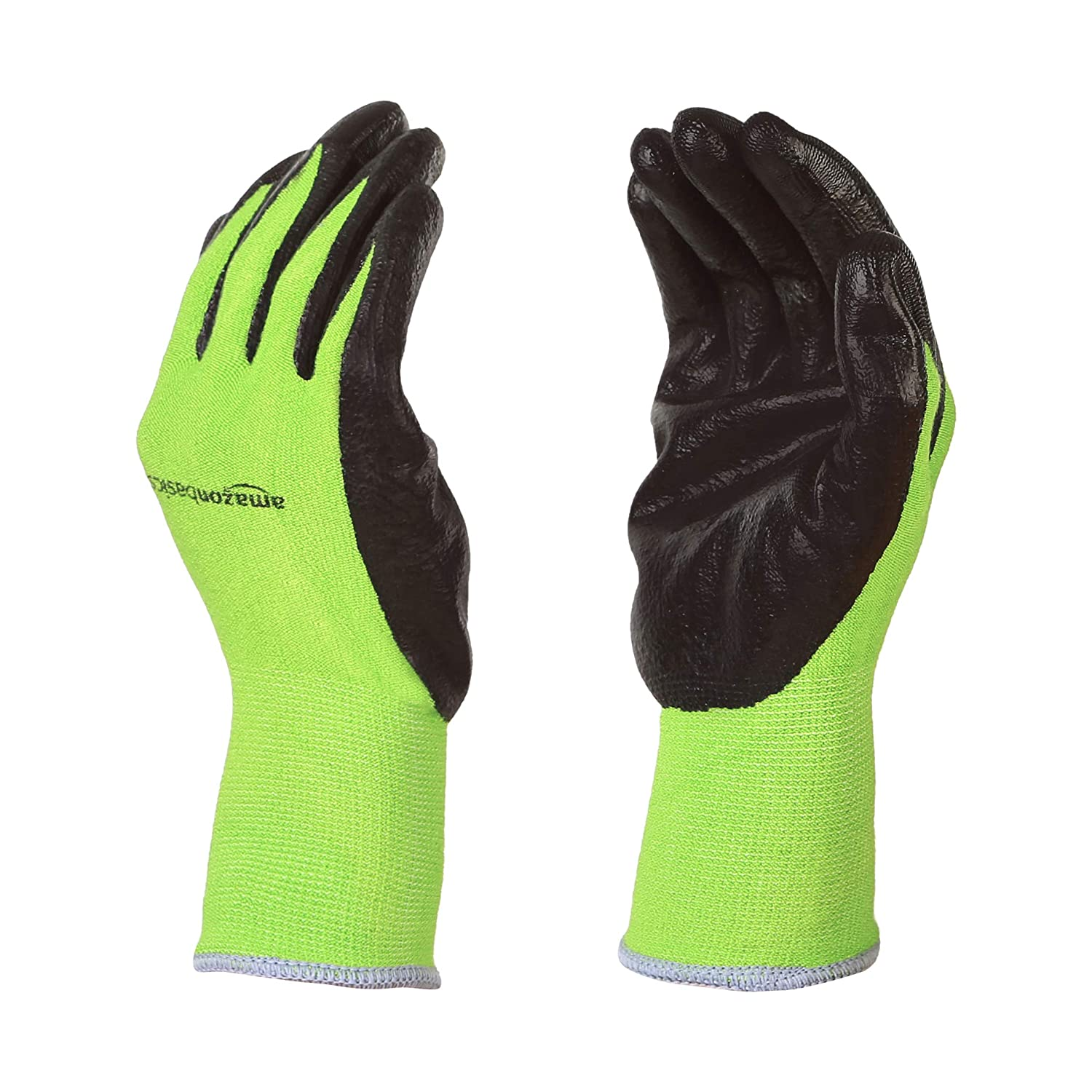 AmazonBasics Working Gloves with Touchscreen, Green, L, 5-Pair