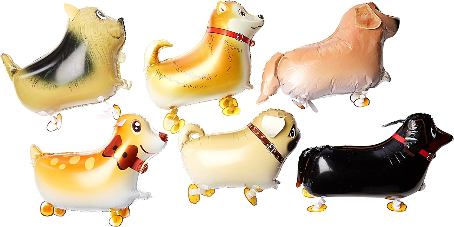 Grinde NO Pet Dog Balloons, Walking Animal, Balloon Air Walkers, Kids Birthday Party Décor, 6 Different Kinds of Dogs
