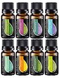 Essential Oil Aromatherapy Set - Pure Therapeutic Grade Oils Lavender, Peppermint, Rosemary, Orange, Tea Tree, Eucalyptus, Lemongrass, Anxiety Relief Blend Kit for Women & Men