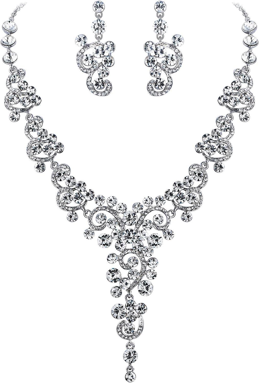 Goodplan Fille gemmes Paon Pendentif Boucles doreilles Collier Vintage Bijoux de Mariage Ensemble Durable et utile