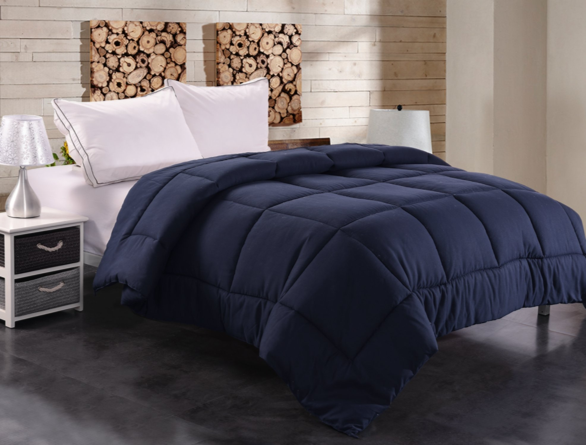 Toodou Soft Thick Quilt Down Alternative King Comforter For All Season, Luxury Hotel Collection Reversible Duvet Insert With Corner Tab, Navy Blue