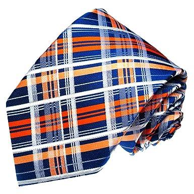 LORENZO CANA - Cuadros Azul Blanco Naranja corbata de seda 100 ...