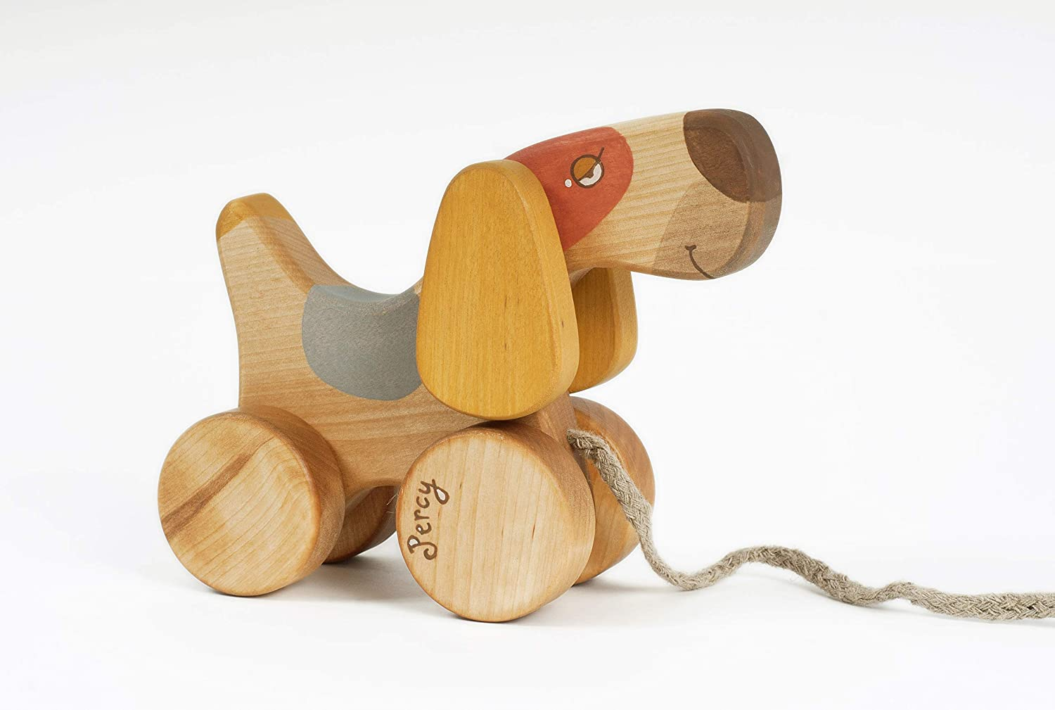 Pull Toy Dog for Toddler, Handmade Wooden toys for 1 Year Old