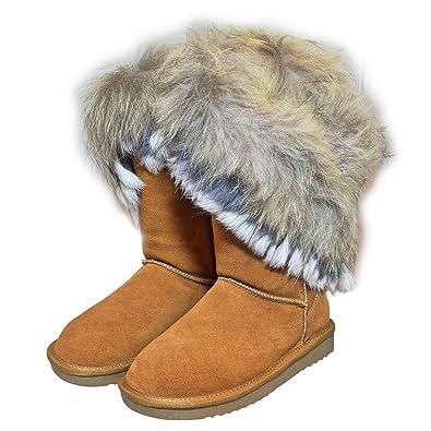 42013623e112 Echtleder Fell Boots Pelz LANGSTIEFEL Schuh Damen Bommel Leder  Winterstiefel (36, Braun)