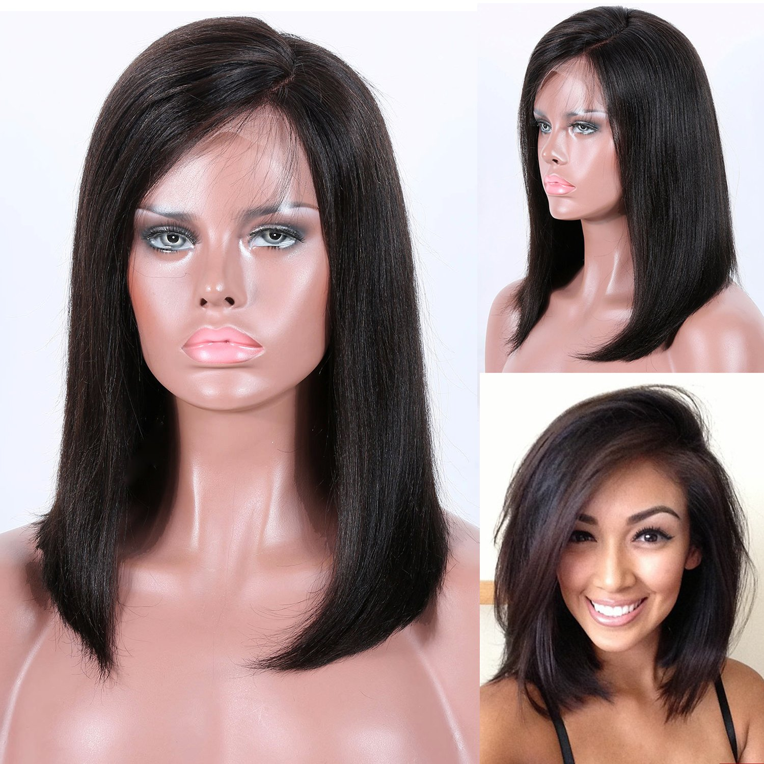 Amazon.com : Premier Bob Wigs Human Hair Lace Front Wigs Brazilian Remi Hair Short Human Hair Wigs with Baby 150% Density, 4.5 inch Deep Part Lace Front ...