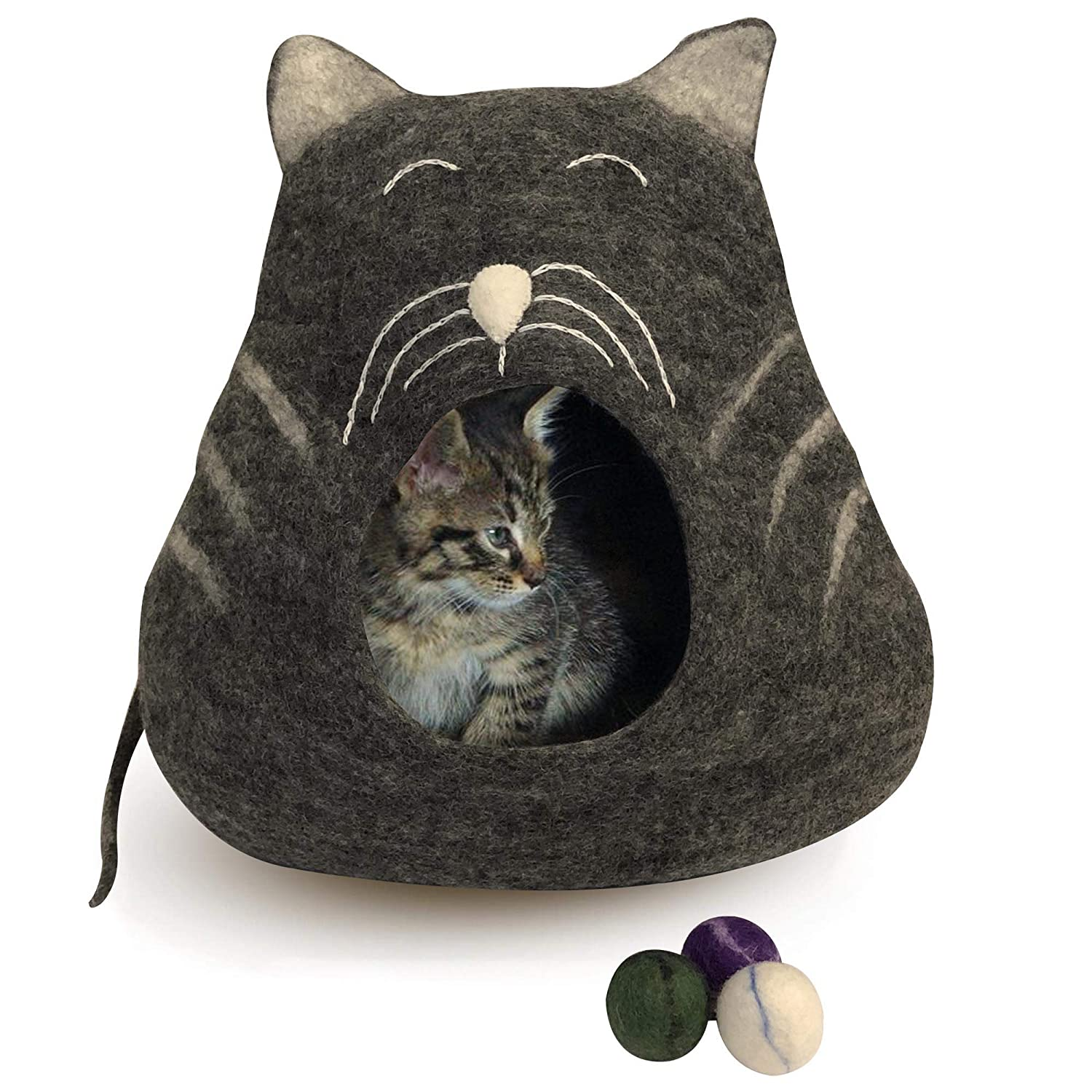 Genuine Felt Cat Bed Cave, Handmade in Nepal 100% All Natural Wool, Super Soft Kittens Cats (Charcoal Whiskers)