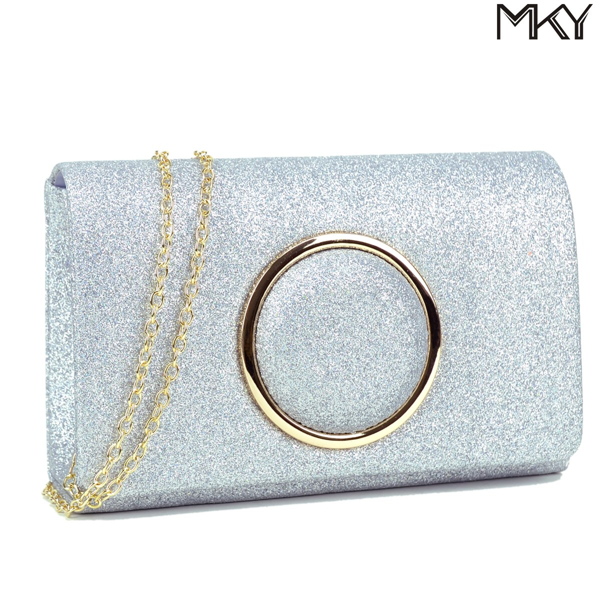 Women Glitter Sequin Clutch Purse Evening Bag Shiny Party Handbag Silver by MKY