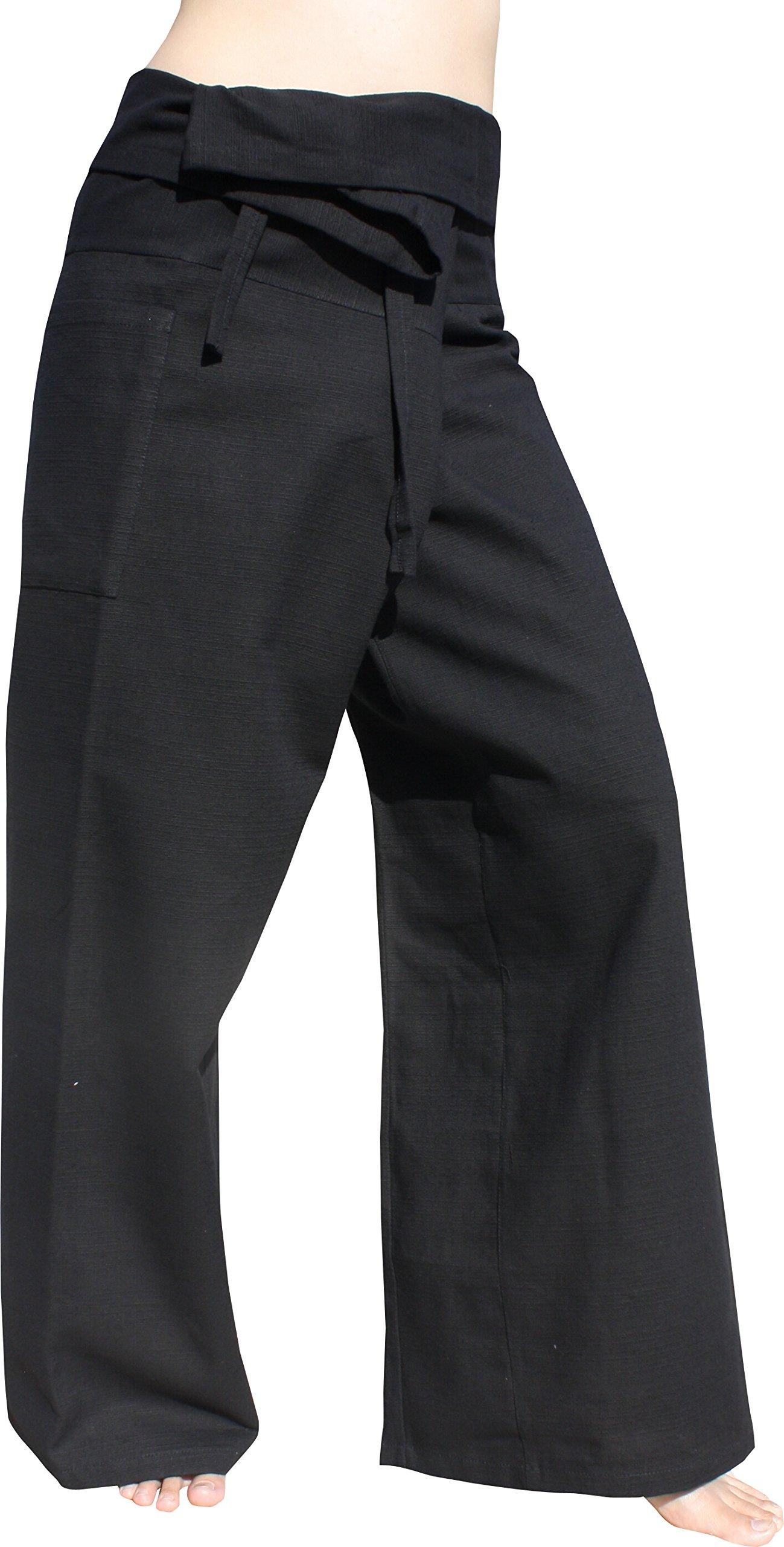Raan Pah Muang Brand Plain Thick Line Cotton Thai Fisherman Wrap Tall Length Pants, Small, Black by Raan Pah Muang