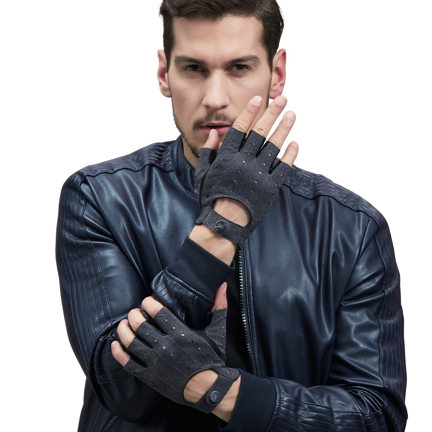 GSG Mens Classic Fingerless Gloves Perforated Half Finger Driving Motorcycle Unlined Snap Gloves Fitness Cycling Nice Gifts Black 11