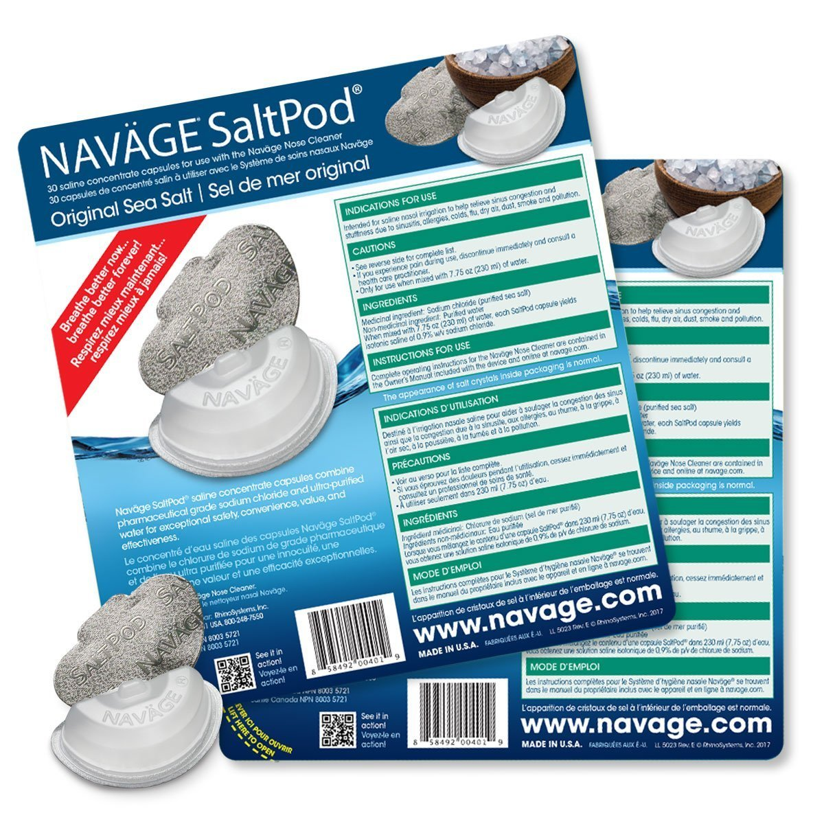 Navage Nasal Irrigation Deluxe Bundle: Naväge Nose Cleaner, 60 SaltPod Capsules, Countertop Caddy, and Travel Case. $160.75 if purchased separately. You save $40.80 (25%) by Navage (Image #4)