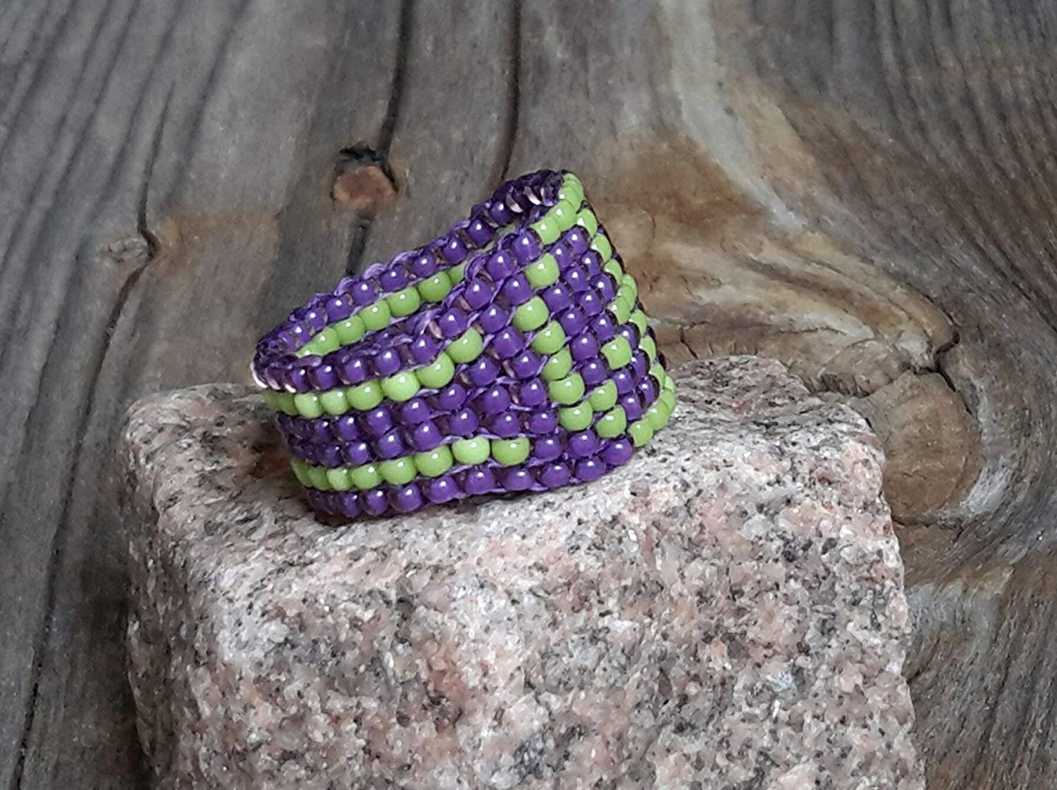 Handsewn Peace Sign Symbol Chunky Glass Seed Bead Band Ring Hypoallergenic Custom Colors Unisex