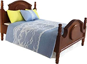 """Inusitus Dollhouse Queen Bed with 4 Piece Bedding, Comforter and Pillows, Wooden Frame, Mattress, Medium Brown, 1"""" Scale"""