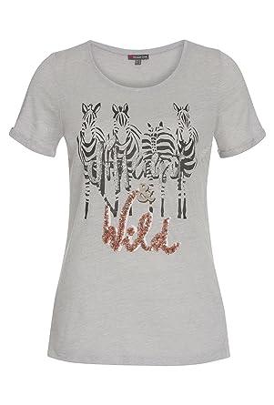 e9f262a4bd4067 Street One Damen T-Shirt mit Print und Glitzer  Amazon.de  Bekleidung