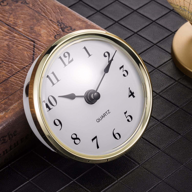 80 mm Gold Trim Hicarer 3-1//8 inch Quartz Clock Fit-up//Insert Arabic Numeral Quartz Movement