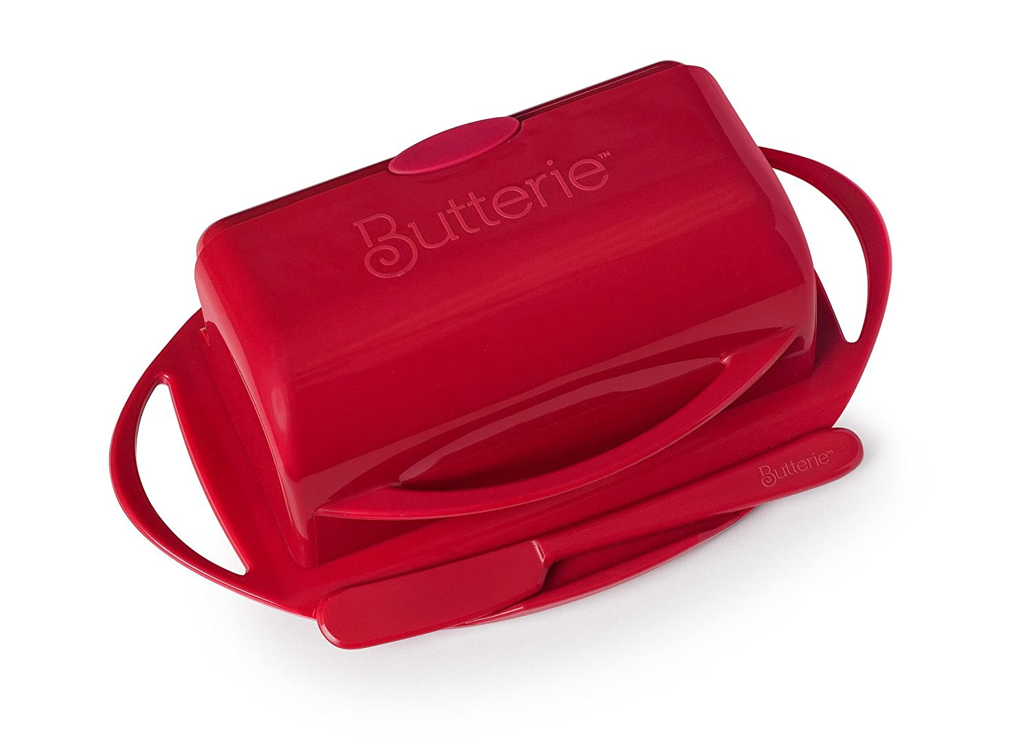 Butterie Flip-Top Butter Dish with Spreader in Red BPA-free plastic Easy Clean Dishwasher NEW