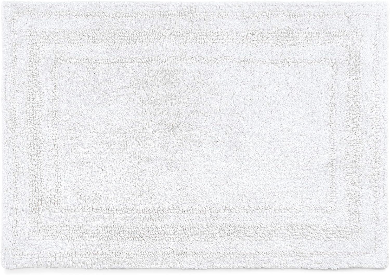 Chaps Home Camden 100% Ringspun Cotton Reversible Non-Slip Bathroom Rug, 21X34, White
