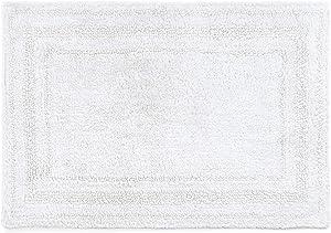 Chaps Home 617753896001 Camden 100% Ringspun Cotton Reversible Non-Slip Bathroom Rug, 17X24, White
