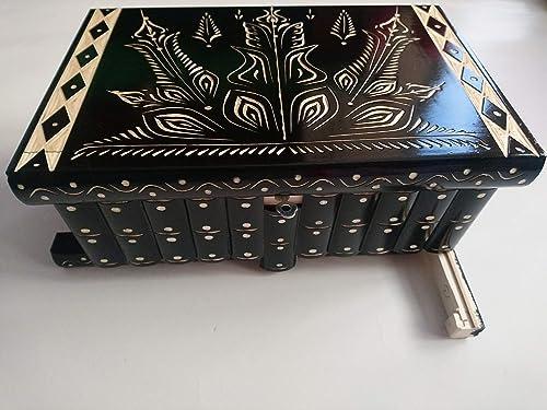 Caja de madera negro más grande del rompecabezas gigante, caja mágica secreta, caja de almacenaje tallada especial de la joyería, cajón ocultado, caja del baratija: Amazon.es: Handmade