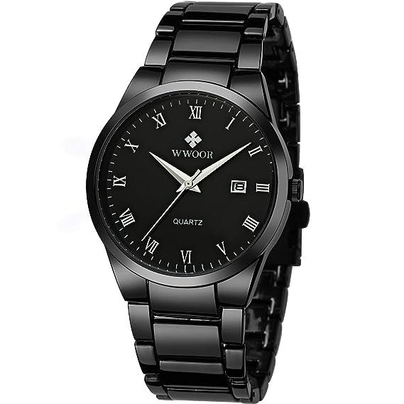 Amazon.com: WWOOR - Reloj analógico de cuarzo para hombre ...