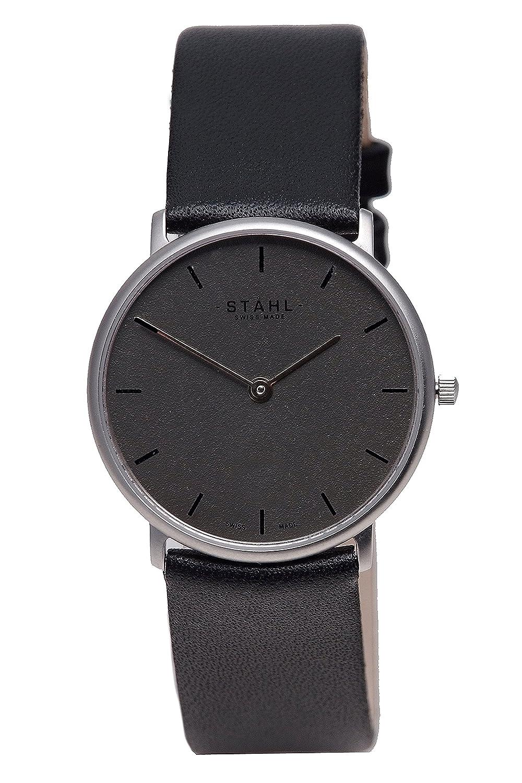 Stahl Swiss Made Armbanduhr Modell: st61322 – Edelstahl – mittlere 30 mm Fall – Bar Silber Zifferblatt