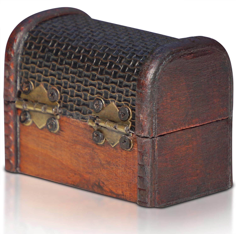 Cassaforte in Legno Idea Regalo Decorativa 8x5x6cm Brynnberg Scrigno del Tesoro Vintage Bauletto Stile Antico per Accessori Gioielli Oggetti di Valore