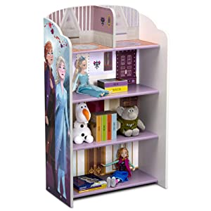 Delta Children Wooden Playhouse 4-Shelf Bookcase for Kids, Frozen II
