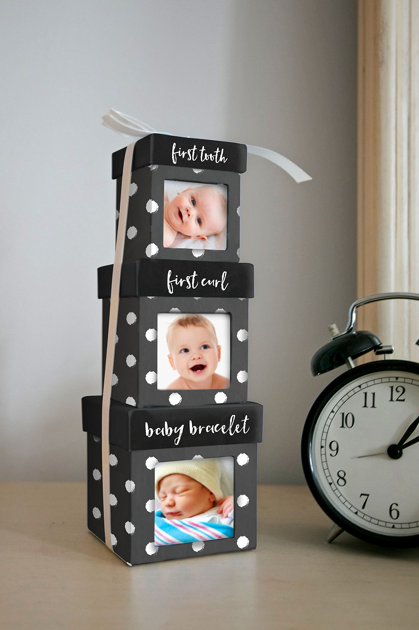 Tiny Ideas Keepsake Boxes, Perfect Nursery Décor and Keepsake Box Set, Black Dots by Tiny Ideas (Image #3)