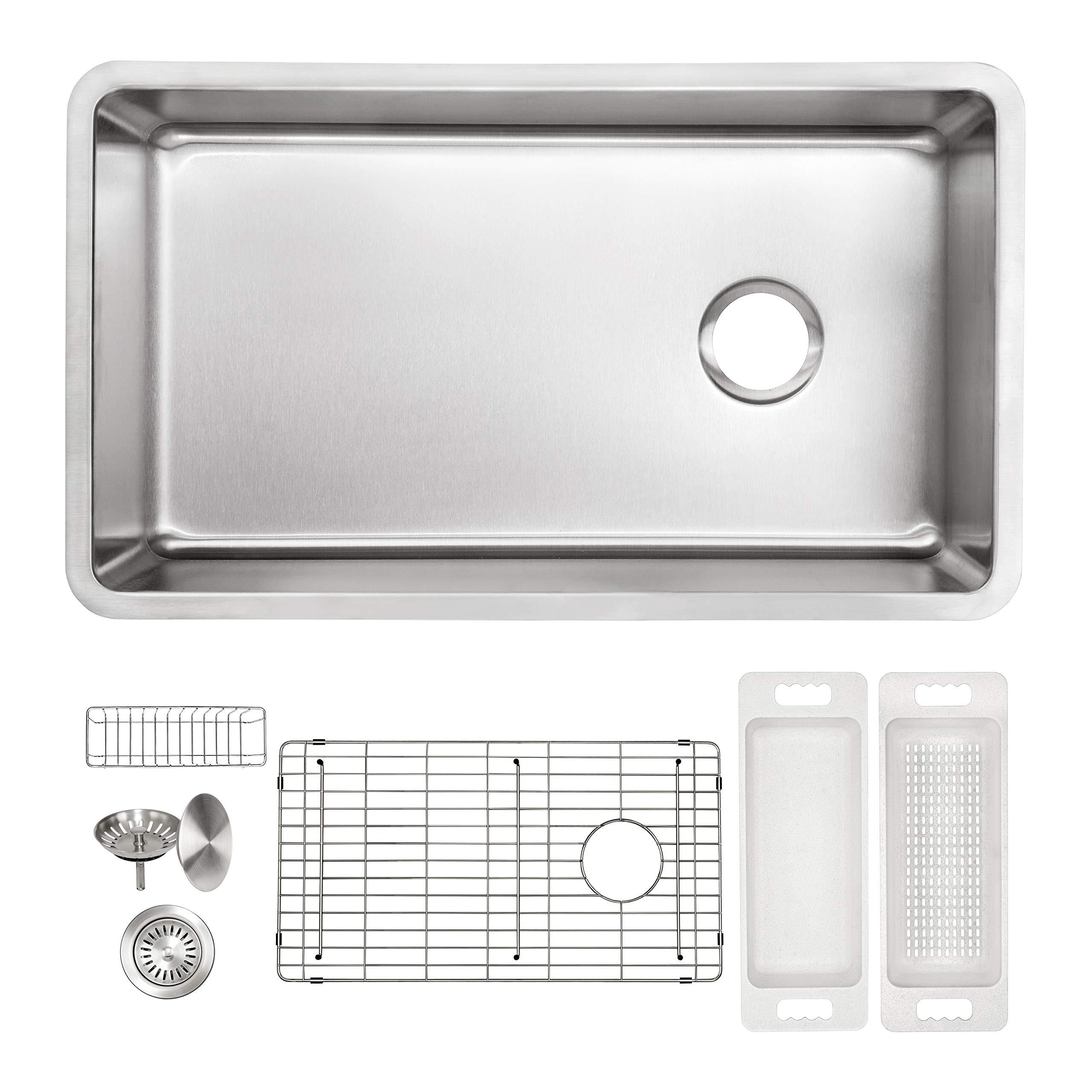 ZUHNE 16G Offset Drain Stainless Steel Kitchen Sink Fits 36'' Cabinet (32 x 19 Inch Single Under Mount) by Zuhne