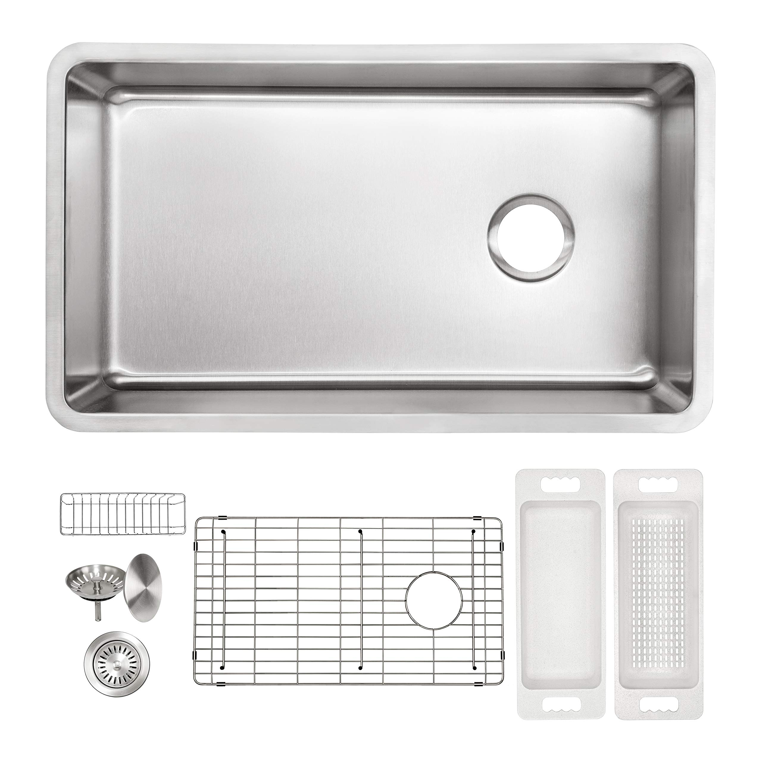 ZUHNE Verona 32 x 19 Inch Single Bowl Under Mount Reversible Offset Drain 16 Gauge Stainless Steel Kitchen Sink W. Grate Protector, Caddy, Colander Set, Drain Strainer and Mounting Clips, 36'' Cabinet