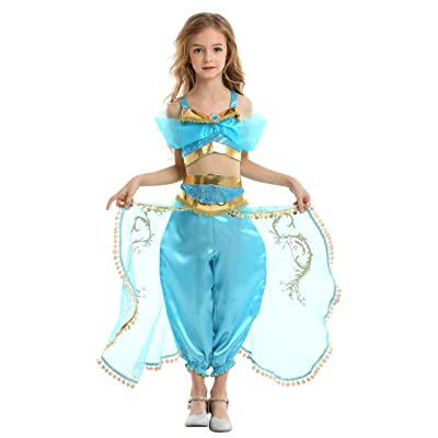 GREAMBABY Princess Costumes Dress for Your Little Girls Dress up (5T, Jasmine Costume - Sky Blue): Clothing