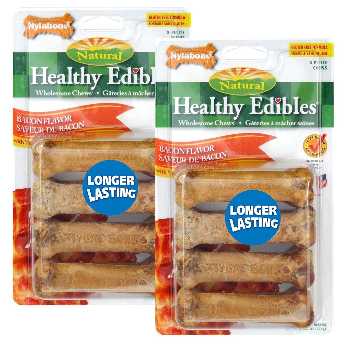 16 Count Nylabone Healthy Edibles Petite Bacon Flavored Dog Treats, 16 Count