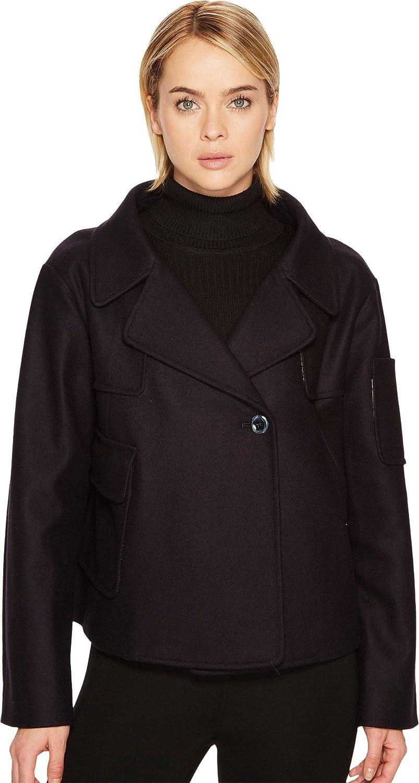 Dark bluee Jil Sander Navy Womens Winter Wool Cashmere Blend Pea Coat