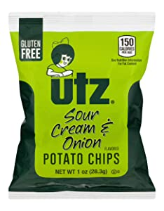 Utz Potato Chips, Sour Cream & Onion – 1 oz. Bags (60 Count) – Crispy Potato Chips Made from Fresh Potatoes, Crunchy Individual Snacks to Go, Cholesterol Free, Trans-Fat Free, Gluten Free Snacks