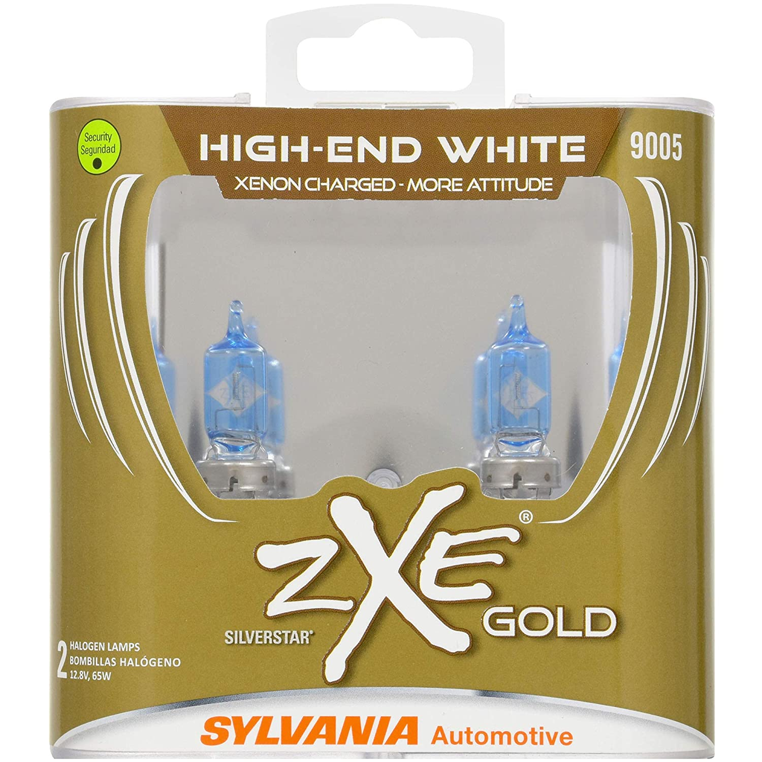 SYLVANIA - 9005 (HB3) SilverStar zXe GOLD High Performance Halogen Headlight Bulb - Bright White Light Output, Best HID Alternative, Xenon Charged ...