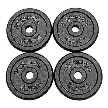 PROIRON Pesas de Disco 4 x 2,5 kg Hierro Fundido Discos de Pesa ...