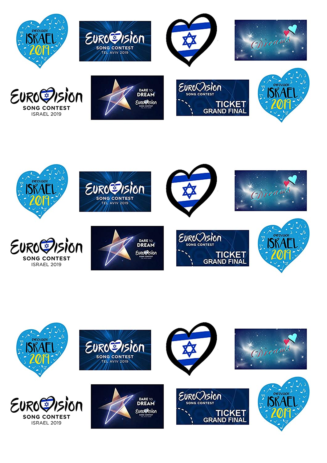 24 Stand Up Eurovision 2019 Song Contest Israel Themed Edible Wafer Paper Cake Toppers Decorations