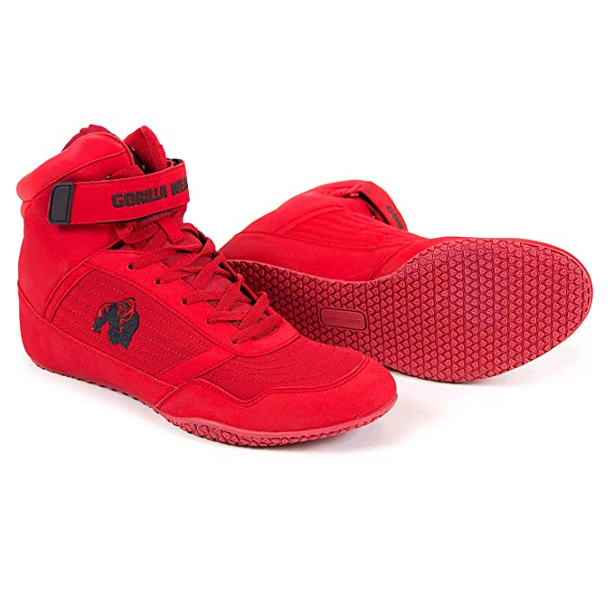 e38cc70d026f Gorilla Wear Bodybuilding Shoes High Tops Black and Red Fitness ...