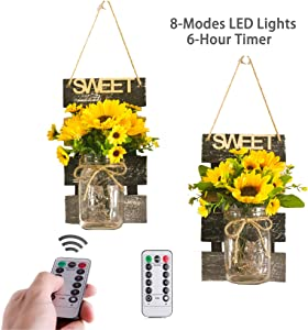 CALATOUR Farmhouse Sconces Wall Decor Mason Jar LED Light with Sunflower,Remote Control,8-Different Light Modes,6-Hour Timer (Set of 2)