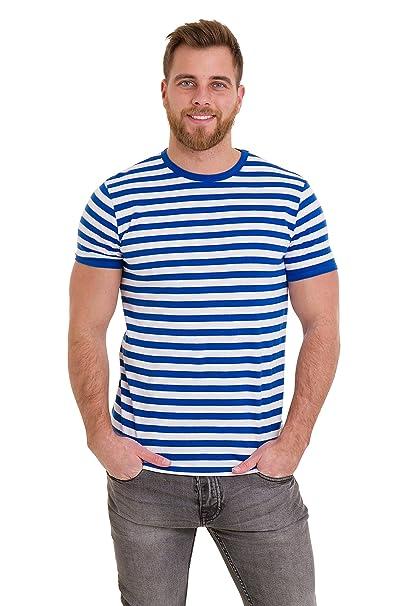 209ac511a6 Run & Fly Mens 60's Retro Royal & White Striped Short Sleeve T Shirt Small