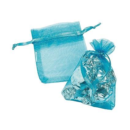 Amazon.com: Mini, color turquesa bolsas de cordón ...