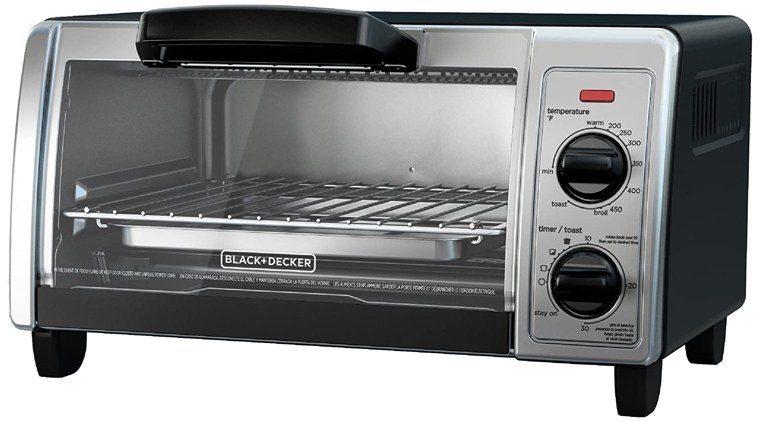 Amazon.com: BLACK+DECKER 4-Slice Toaster Oven with Easy Controls, Stainless Steel, TO1705SB: Kitchen & Dining