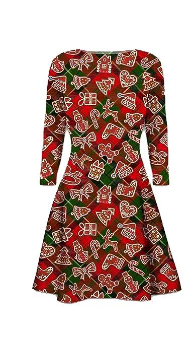Dame-Weihnachten / festliches Neuheit-langes Hülsen-Schaukel-Kleid:  Amazon.de: Bekleidung