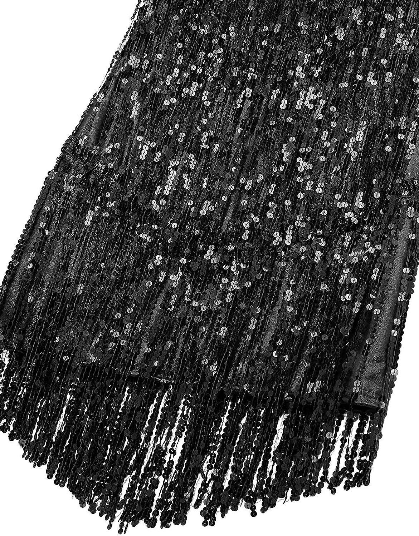 Agoky Damen /Ärmellos Pailletten Kleid V-Ausschnitt Glitzer Quasten Partykleid Flapper Kost/üm Tanzkleid Samba Tango Latein Outfits
