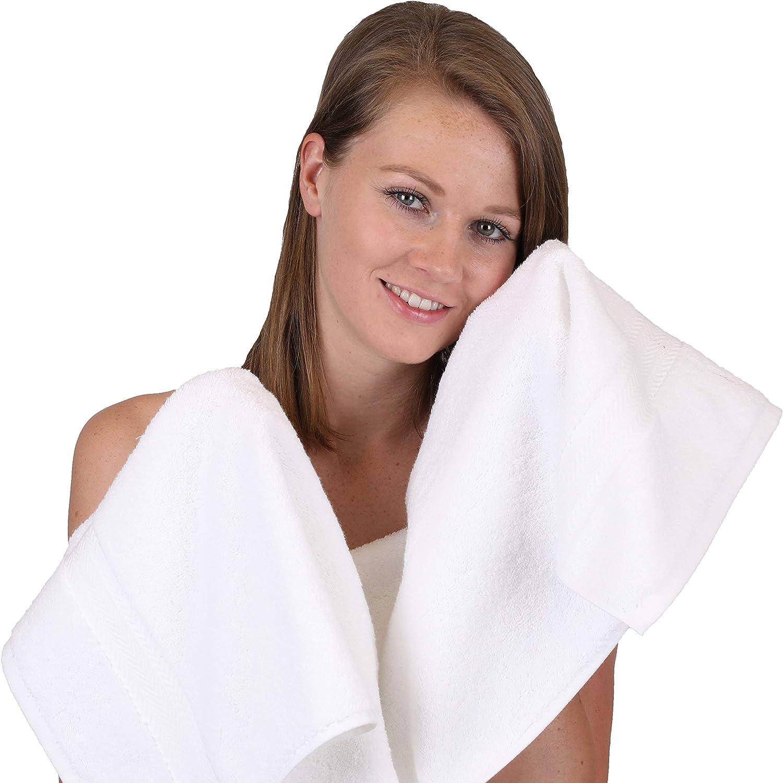 Betz 12-TLG Handtuch Set Premium 100/% Baumwolle 2 Duscht/ücher 4 Handt/ücher 2 G/ästet/ücher 2 Seift/ücher 2 Waschhandschuhe Farbe wei/ß//rubinrot