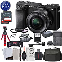 Sony Alpha a6100 Mirrorless Digital Camera w/ 16-50mm Lens (Black) and Striker Deluxe Bundle with 12� Tripod