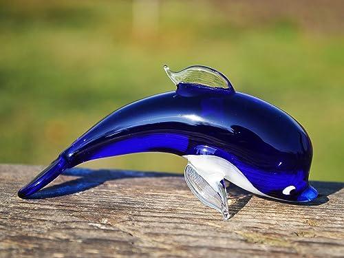 Blown Glass Blue Dolphin Tiny Glass Dolphin Figurine Art Glass Animal Ornament Glass Figurine Glass Dolphin Sculpture