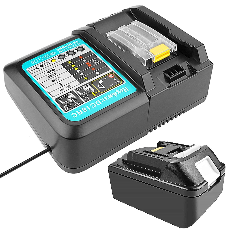 18 V 5.0 Ah BL1850 Batería con Cargador 3A Reemplazo para Makita ...