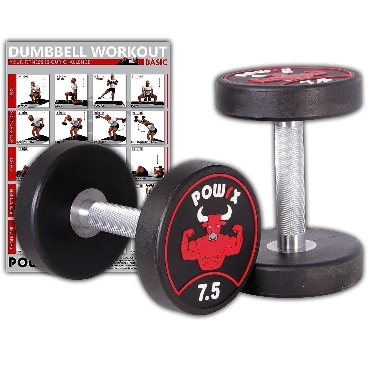 Juego de pesas Powrx, profesional, con mancuernas redondas, 2 unidades, incluye mancuernas cortas de goma Workout, con recudimento sin olores 5 -30 kg, ...
