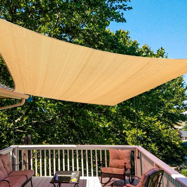 Amagenix Rectangle Sun Shade Sail Canopy, 185 GSM Permeable Shade Cloth, 8'X10' UV Block Awning for Patio Outdoor Backyard Garden, Sand